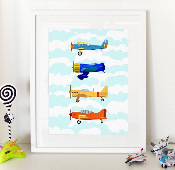 Vintage airplanes kids print home decor nursery poster Vintage airplane decor for nursery
