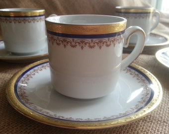 Stunning Set of 4  Demi Cups and Saucers, Cobalt and Gold, Tirschenreuth, Germany