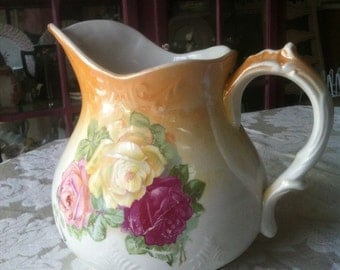 Antique Water Pitcher or Milk Jug Lusterware Cabbage Roses