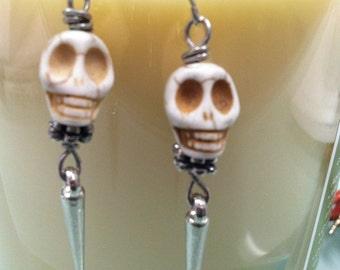 Skull Earrings with a silver spike