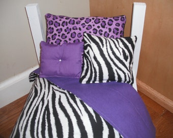 "SPRING SALE 4 Piece Bedding set American Girl, 18"" doll bed Zebra stripe purple Leopard"