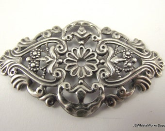 Antiqued Silver Plated Filigree Focal, 59mm x  35mm, 6 Pieces