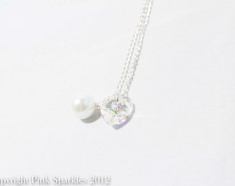 Clear Swarovski Crystal Heart and White Pearl Necklace, Bridal Necklace