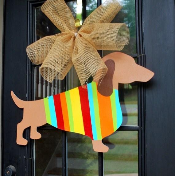 Door Hanger, Dog Door Decor, Summer Door Hanger, Door Decoration, Pug Decor, Weenie Dog Decor