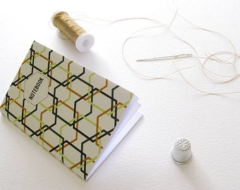 Notebook Collection #2 Mint & Emerald . Binding Hand with golden thread . Two Sizes . White Page