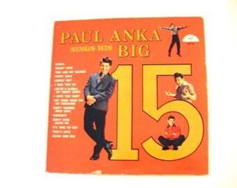 Rare 1950s Autographed Paul Anka Sings His BIG 15 ABC-Paramount Record Album