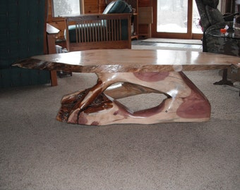 Charming RED CEDAR LIMB Coffee Table With A White Pine Top