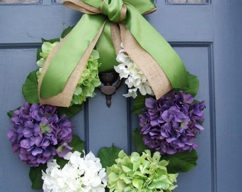 Hydrangea Spring Wreath- purple green and white
