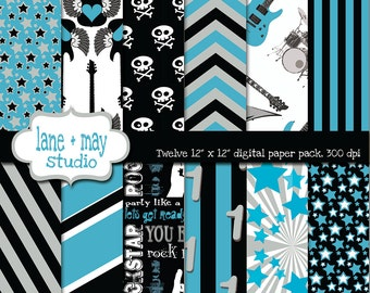 digital papers - blue, black and gray party like a rockstar - INSTANT DOWNLOAD