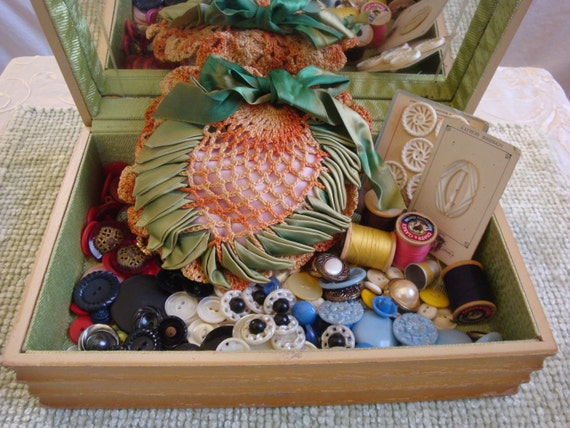 On Reserve for Lisa: Vintage Sewing Notions, Buttons, Pilloid Box with Etched Mirror