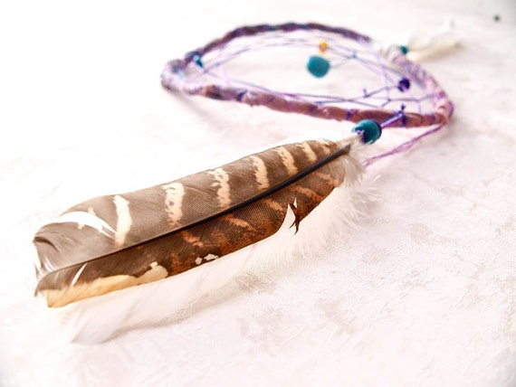 Dream Catcher - Turquoise Nature - With Turquoise Drop Gemstone, Natural Brown and White Feathers - Home Decor, Mobile