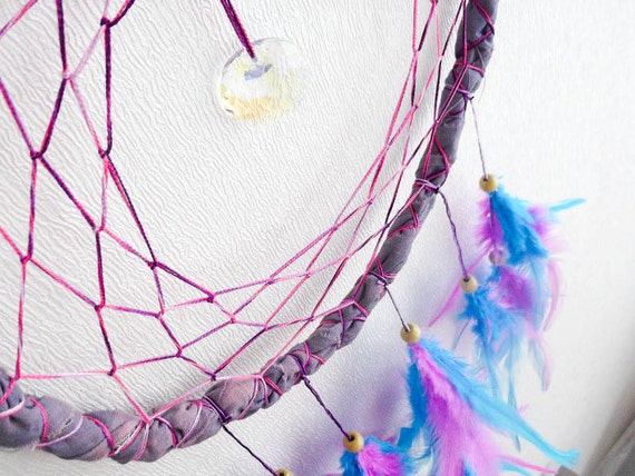Dream Catcher - Half Moon - With Sparkling Crystal Prism and Turquoise, Pink Feathers - Home Decor, Nursery Mobile