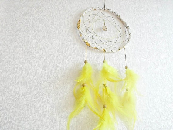 Dream Catcher - Sunburst - With Gemstone and Yellow Feathers - Home Decor, Nursery Mobile