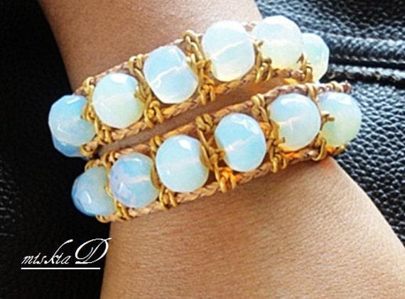 White Opal Leather Bracelet, Opal Wrapped Bracelet, Opal Layered Bracelet, Beach Leather Bracelet