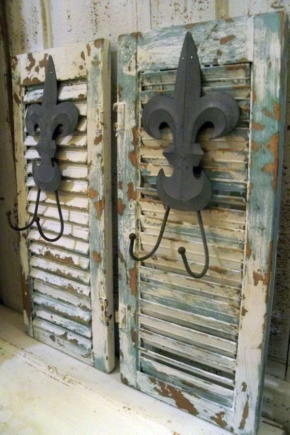 French Blue Wood Shutters Fleur De Lis Hooks Farmhouse Cottage