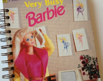 Very Busy Barbie Little Golden Book Recycled Journal Notebook