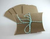 10 Kraft Pillow Boxes Wedding Favor Boxes - 3.5 x 3 x 1 - Kraft Gift Boxes