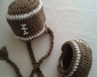 Crocheted Football Hat and Diaper Cover Pattern