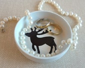 Deer jewelry dish or ring holder, reindeer design in white