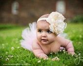 Ivory Large Peony Headband-Baby Headband-Toddler Headband-Girl Headband-Easter