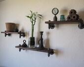 The Minimalist - Trio Walnut Pipe Shelf