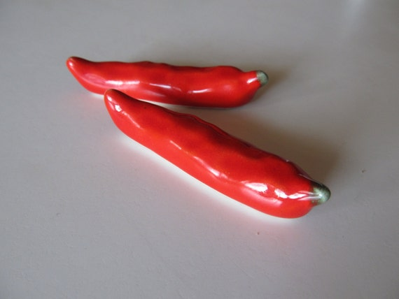 Items Similar To Vintage Red Ceramic Red Chili Peppers