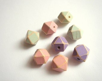 Shabby Hand painted Pastel Geometric Mix Wood Beads,Do it Yourself Geometric necklace