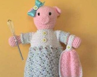 Pig CROCHET PATTERN Bag Holder Home Decor Pretty Piggy