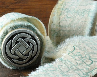 Irish Blessings  - Vintage Inspired Hand-Stamped Tea Dyed and Frayed Muslin Trim Around A Charming Wooden Spool