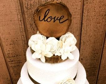 Flower Wedding Cake Topper - Wooden Wedding Cake Topper - Wedding Cake Topper - Unique Cake Toppers - Fall Wedding - Cake Decor