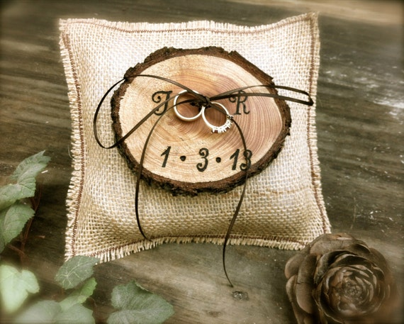 rustic ring bearer pillow wedding ring bearer pillow burlap