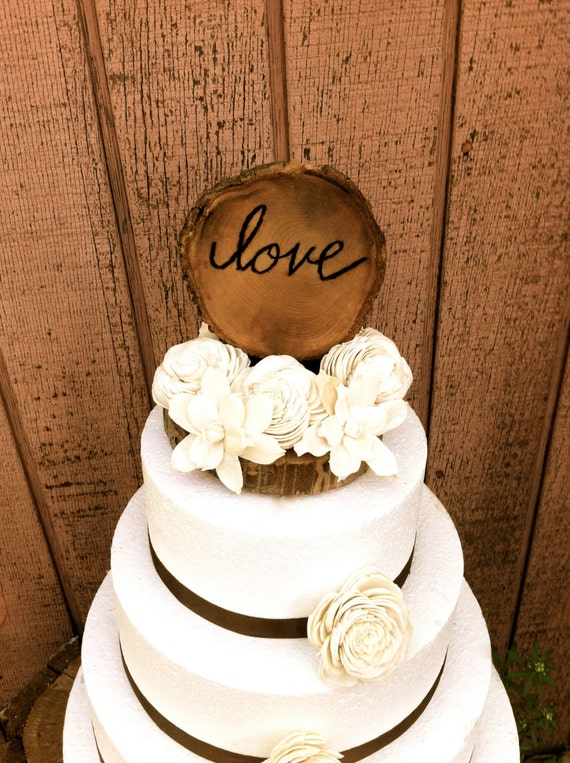 Rustic Wedding Cake Topper Wooden Love