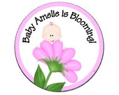 "Personalized 2.5"" OR 2"" Baby is Blooming Baby shower Sticker Favor, shower decoration - Pink"