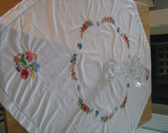 VINTAGE  handmade, embroidery, luncheon tablecloth, square , mixed flowers  41 inches x 43 inches, 1950'S