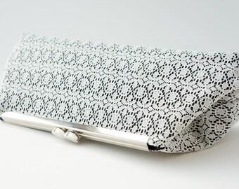 Black & White Lace Clutch Purse Bridesmaid Handbag - Wedding/Evening/Bridesmaid Purse - Includes Crossbody Chain - Made to Order