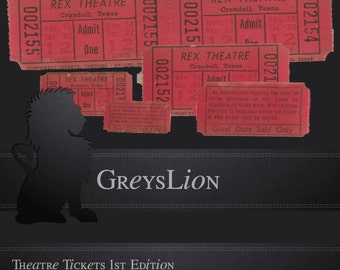 5 DIGITAL ELEMENTS EPHEMERA: Theatre Tickets .png Scrapbooking, Digital Elements