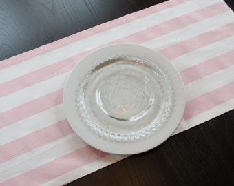Light Pink & White Stripe Table Runner