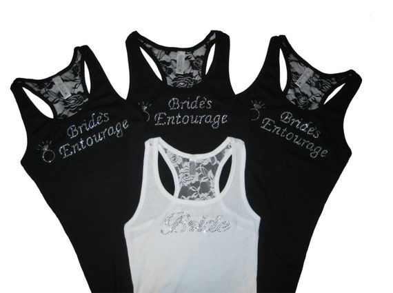 4 Bridesmaid Tank Tops, Lace Tank Tops, Bride's Entourage, Bridal Entourage, Team Bride, Bachelotte Party Shirts, Bridesmaid Gifts, Wedding