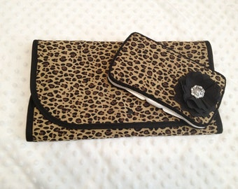 Leopard Print Diaper Wipe Case and Changing Pad 2pc set