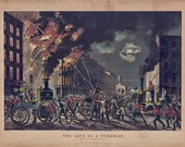 "Vintage 1800s Firefighter Illustration, ""The Life of a Fireman."" 14x11 Firefighter Decor, Gift"