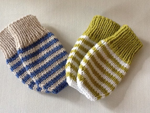Knitting Pattern For Toddler Mittens With Thumbs : Hand knitted Baby mittens.Striped Baby mittens by emilyandevelyn