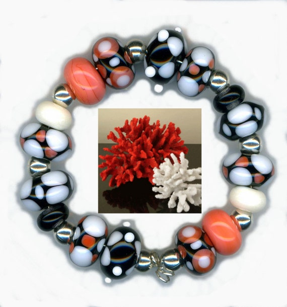 Lampwork Glass Beads Coral Black Ivory Geometric Pattern Bead Set