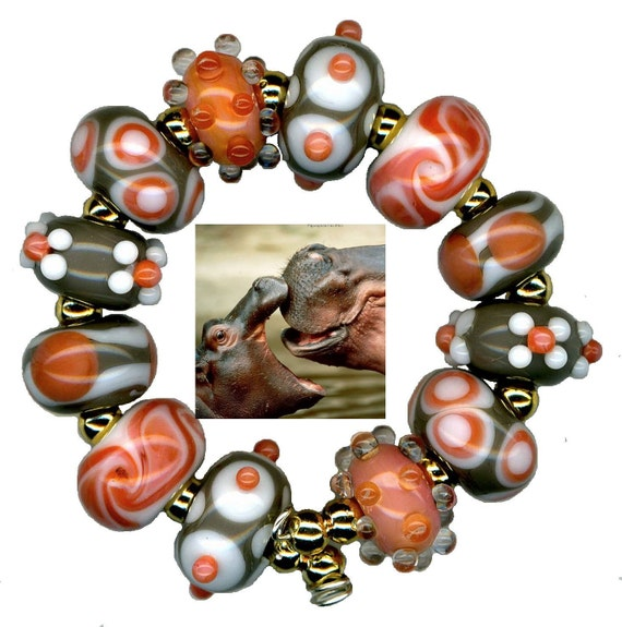 Handmade USA Lampwork Glass Beads Coral Grey White Matched Pair Bead Set