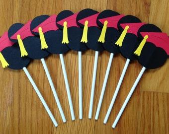 12 Disney Graduate Mickey Graduation CUSTOM Cupcake Toppers - U Choose Your Colors