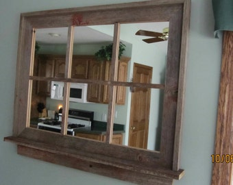 Barnwood Window Mirror with Shelf -- (Large Size )