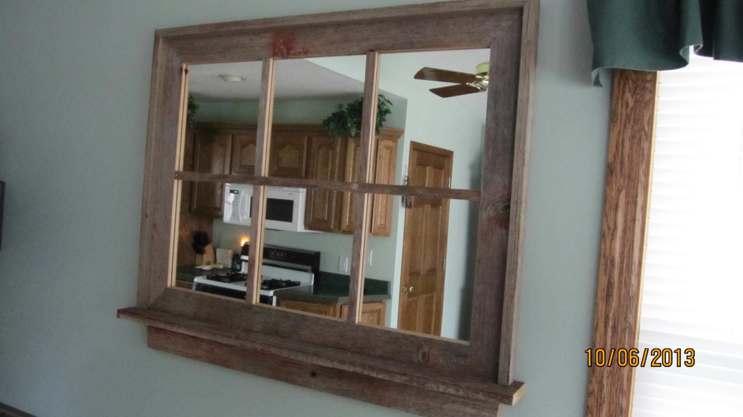 Barnwood Window Mirror With Shelf Large Size