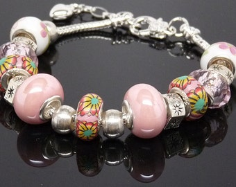 KISS ME PINK:  Preciously Pink European Style Large Hole Bead Valentine Bracelet