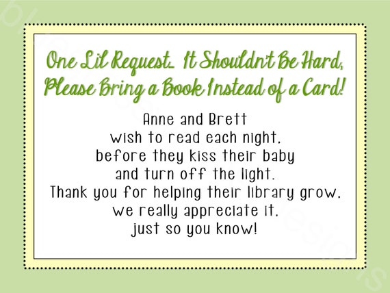 bring a card instead of a book baby shower insert gender neutral 3x4