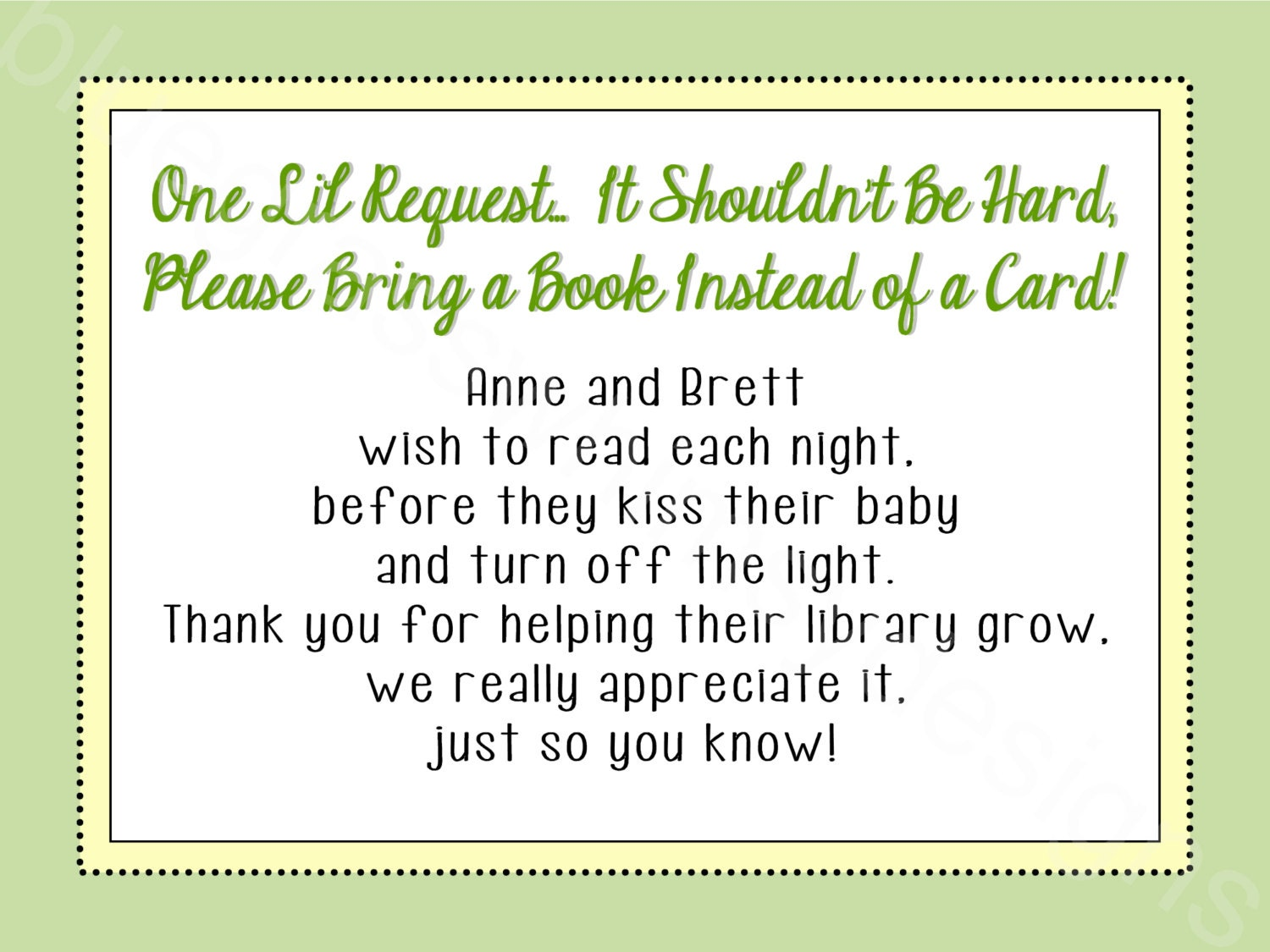 bring a card instead of a book baby shower by bluegrasswhimsy
