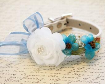 Blue Floral Dog Collar, Dog wedding accessory, Dog Lovers, Some thing blue, Blue wedding, Beach wedding